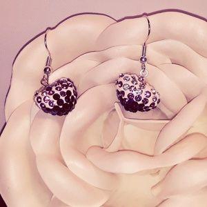 Swarovski Swirl Crystal Heart Earrings NWT